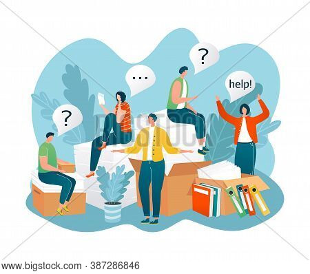 People In Need Of Help, Frequently Asked Questions Around Question Marks Vector Illustration. Faq, S