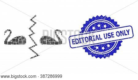 Vector Collage Divorce Swans, And Editorial Use Only Grunge Rosette Stamp. Blue Stamp Seal Includes