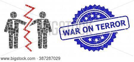Vector Mosaic Businessmen Divorce, And War On Terror Rubber Rosette Stamp. Blue Stamp Contains War O