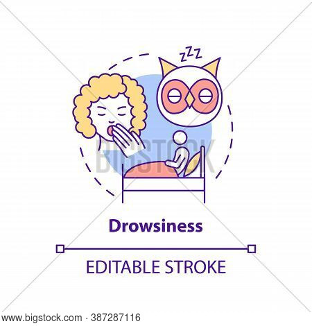 Drowsiness Concept Icon. Sleepiness From Overwork. Lack Of Sleep. Weakness At Night. Brain Health Id