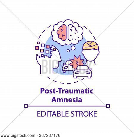 Post Traumatic Amnesia Concept Icon. Head Injury After Accident. Patient With Memory Loss. Brain Hea