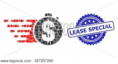 Vector Mosaic Credit Meter, And Lease Special Corroded Rosette Stamp Seal. Blue Stamp Seal Contains