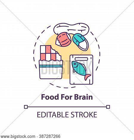 Food For Brain Concept Icon. Dark Chocolate. Oily Fish. Healthy Eating. Nutritious Nuts. Brain Healt