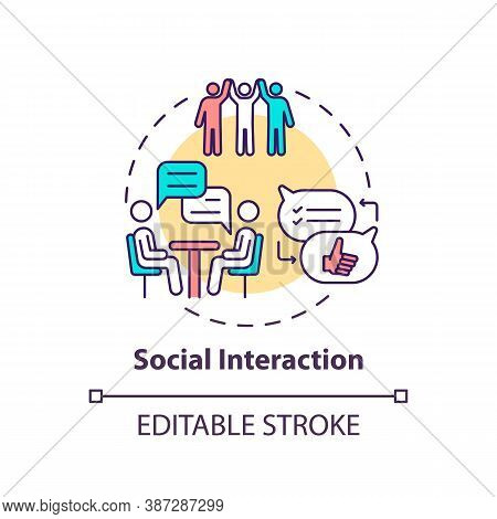 Social Interaction Concept Icon. Communication Between People. Dialog In Group. Brain Health Idea Th