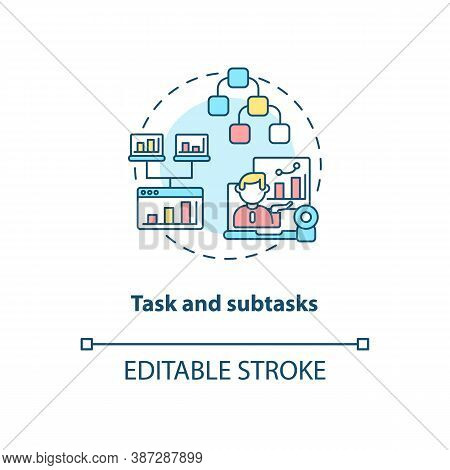 Task And Subtasks Concept Icon. Software Structure Idea Thin Line Illustration. Optimized Planning.