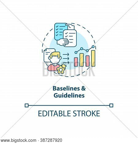 Baselines And Guidelines Concept Icon. Software Structure Idea Thin Line Illustration. Project Manag