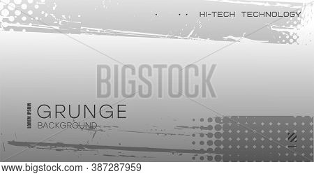 Grunge Background. Gradient Gray Background With Frayed Edges. Grunge Flyer, Business Card, Postcard