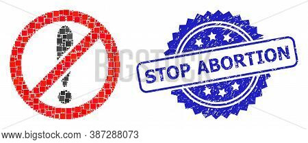 Vector Collage Forbidden Exclamation, And Stop Abortion Corroded Rosette Stamp Seal. Blue Stamp Cont