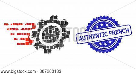 Vector Collage Gear, And Authentic French Unclean Rosette Seal Print. Blue Stamp Seal Has Authentic