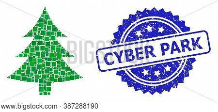 Vector Mosaic Fir Tree, And Cyber Park Dirty Rosette Seal Imitation. Blue Stamp Seal Includes Cyber