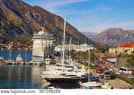 Kotor, Montenegro - December 27 2019:  View Of Port In Kotor City. Cruise Ship Costa Deliziosa And C