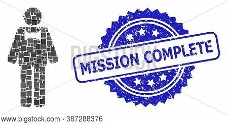 Vector Collage Groom, And Mission Complete Unclean Rosette Stamp Seal. Blue Stamp Seal Has Mission C