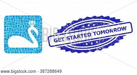 Vector Collage Crowned Swan, And Get Started Tomorrow Textured Rosette Seal Print. Blue Seal Contain