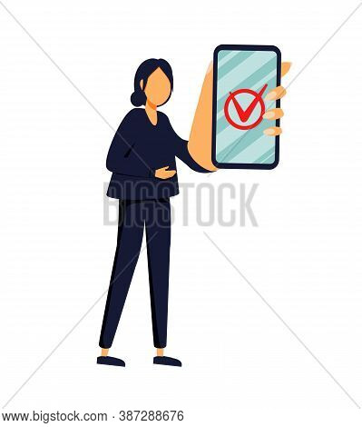 Handsome Businesswoman Showing Smartphone Display With Successful Check Mark Close Up And Winking. F