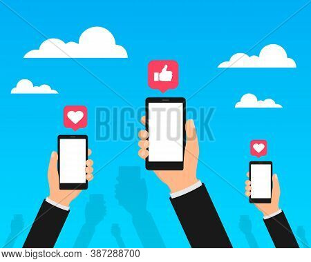 Social Media On Mobile Phones Vector. Hands Holds Smartphones With Social Media