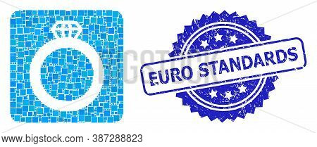 Vector Collage Gem Ring, And Euro Standards Rubber Rosette Stamp Seal. Blue Stamp Seal Contains Euro