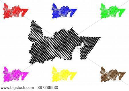 Southern Peninsula Region (iceland Island, Regions Of Iceland) Map Vector Illustration, Scribble Ske
