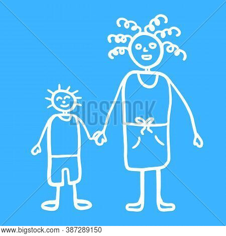 Silhouette Of Mama And Son Walking Together Outdoors, Smiling And Holding Hands,  Vector Illustratio