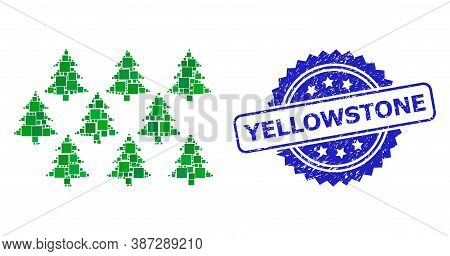 Vector Mosaic Fir Forest, And Yellowstone Corroded Rosette Stamp. Blue Stamp Includes Yellowstone Ta