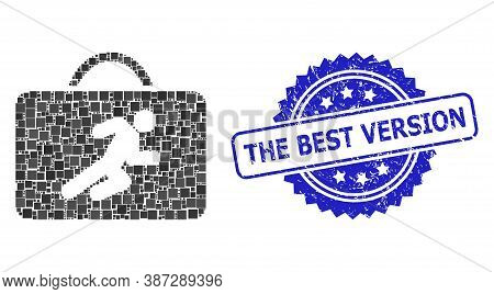 Vector Mosaic Career Case, And The Best Version Textured Rosette Seal Imitation. Blue Seal Has The B