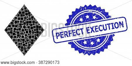 Vector Mosaic Filled Rhombus, And Perfect Execution Rubber Rosette Stamp Seal. Blue Stamp Seal Inclu