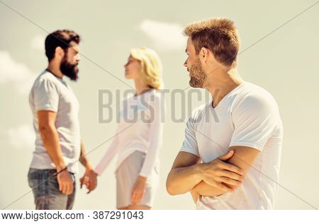 She Chose Him. Interpersonal Relationship. Happiness Or Misfortune. Couple In Love. Third Wheel Man.