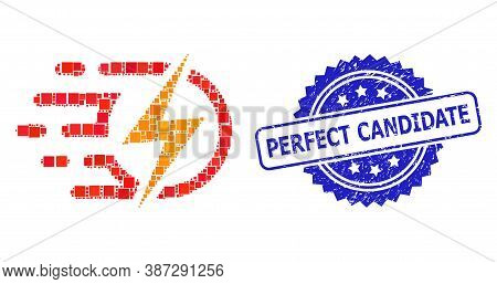 Vector Mosaic Electric Voltage, And Perfect Candidate Grunge Rosette Stamp Seal. Blue Stamp Seal Has