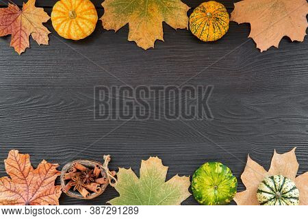 Autumn Background, Dried Colorful Leaves, Little Pumpkins And Spices, Space For Text, Copy Space.