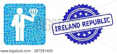 Vector Mosaic Groom Diamond, And Ireland Republic Dirty Rosette Seal Imitation. Blue Seal Contains I