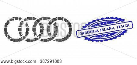 Vector Collage Circle Chain, And Sardinia Island, Italia Rubber Rosette Stamp Seal. Blue Stamp Seal