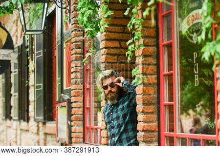 Male Natural Beauty. Fashion Model Wear Casual Clothes. Mature Man With Beard And Moustache. Male Ba