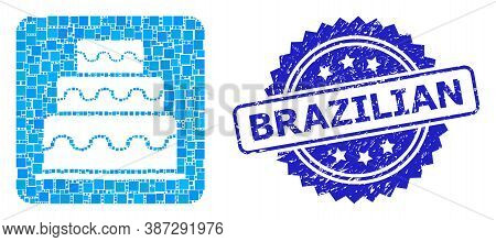 Vector Mosaic Cake, And Brazilian Corroded Rosette Seal Imitation. Blue Seal Contains Brazilian Titl
