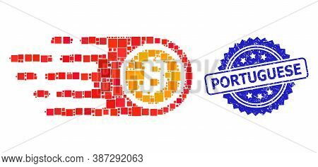 Vector Mosaic Bitcoin, And Portuguese Textured Rosette Stamp Seal. Blue Stamp Seal Contains Portugue