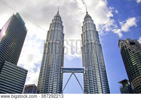 Kuala-lumpur, Malaysia - 03.03.20: Twin Towers Petronas. The Highest Twin Towers In The World.