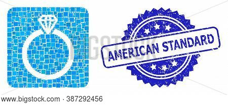 Vector Mosaic Diamond Ring, And American Standard Rubber Rosette Stamp Seal. Blue Stamp Seal Has Ame
