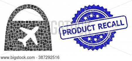 Vector Collage Airport Shopping, And Product Recall Dirty Rosette Seal Imitation. Blue Stamp Include
