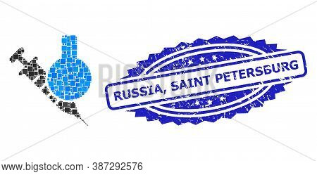 Vector Collage Chemical Vaccine, And Russia, Saint Petersburg Corroded Rosette Seal Imitation. Blue
