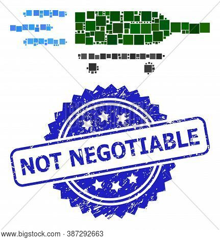 Vector Collage Rolling Wine Delivery, And Not Negotiable Dirty Rosette Stamp Seal. Blue Stamp Seal H