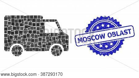 Vector Mosaic Van Car, And Moscow Oblast Rubber Rosette Stamp Seal. Blue Stamp Seal Contains Moscow