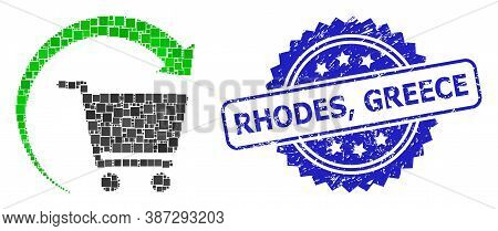 Vector Mosaic Repeat Shopping Order, And Rhodes, Greece Scratched Rosette Stamp Seal. Blue Stamp Has