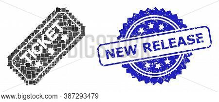 Vector Mosaic Ticket, And New Release Dirty Rosette Seal Imitation. Blue Stamp Seal Has New Release