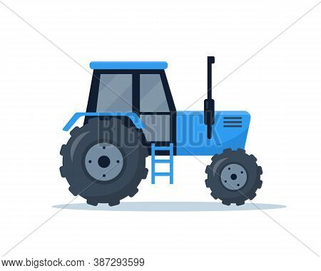 Farm Tractor Isolated On White Background. Agricultural Machinery For Farmers Work. Vector Illustrat