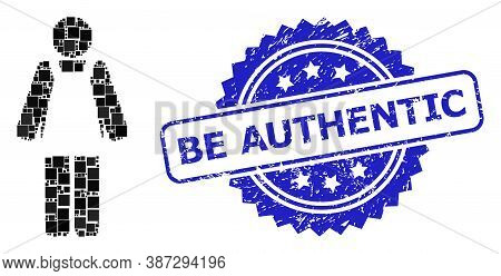 Vector Mosaic Worker Person, And Be Authentic Rubber Rosette Stamp Seal. Blue Seal Contains Be Authe