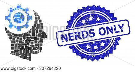 Vector Mosaic Human Intellect Gear, And Nerds Only Textured Rosette Seal. Blue Stamp Seal Has Nerds