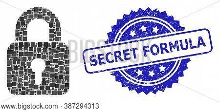 Vector Collage Lock, And Secret Formula Textured Rosette Stamp Seal. Blue Stamp Has Secret Formula T