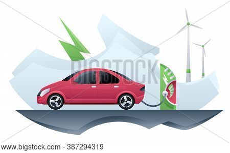 Electric Car Taxi. Electric Car Taxi Charging On Charger Station. Online Taxi And Windmill Alternati