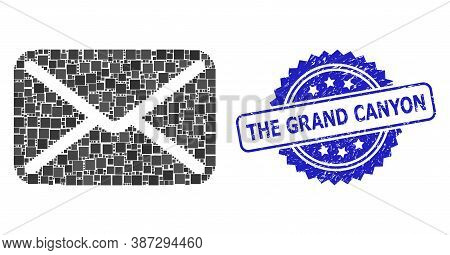 Vector Mosaic Letter, And The Grand Canyon Grunge Rosette Seal Print. Blue Stamp Seal Has The Grand