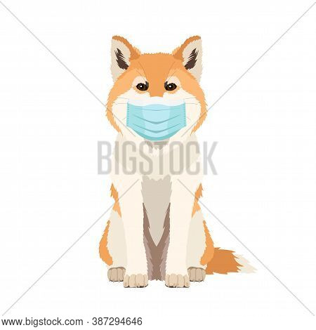 Vector Hand Drawn Illustration Of Funny Akita Inu Dog Wearing Face Mask Isolated On White Background