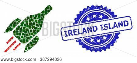 Vector Collage Rocket Wine Bottle, And Ireland Island Scratched Rosette Stamp Seal. Blue Stamp Seal