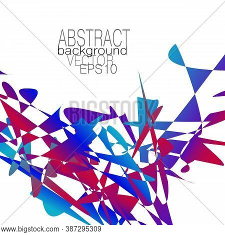 Chaotic Blue, Red, Purple Splinters And Fragments. Abstract Vector Pattern. Bright Multicolored Grad